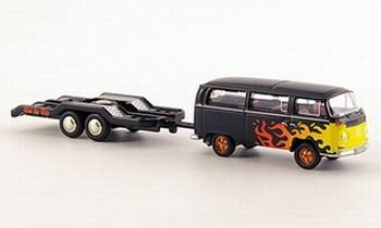 08756  Volkswagen T2 mit aanhanger Feuer & Flam  1:87