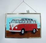 CG044 Raamhanger Volkwagen T1 Samba Bus (rood/wit) B30 CM x H20 CM