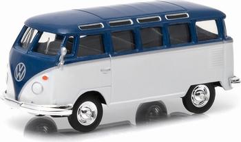 96140F  Volkswagen Samba Bus  blauw/wit