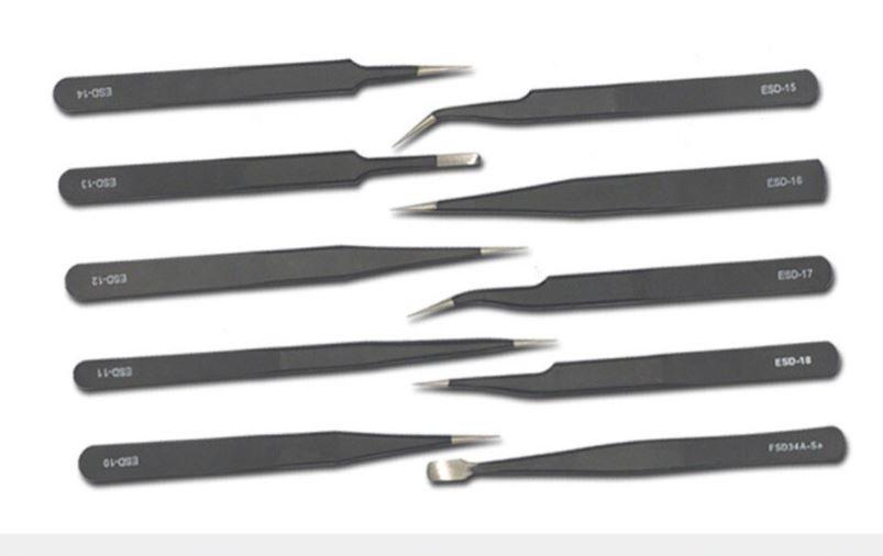 999089  Pincetten set 10 delig in Etui (RVS zwart)