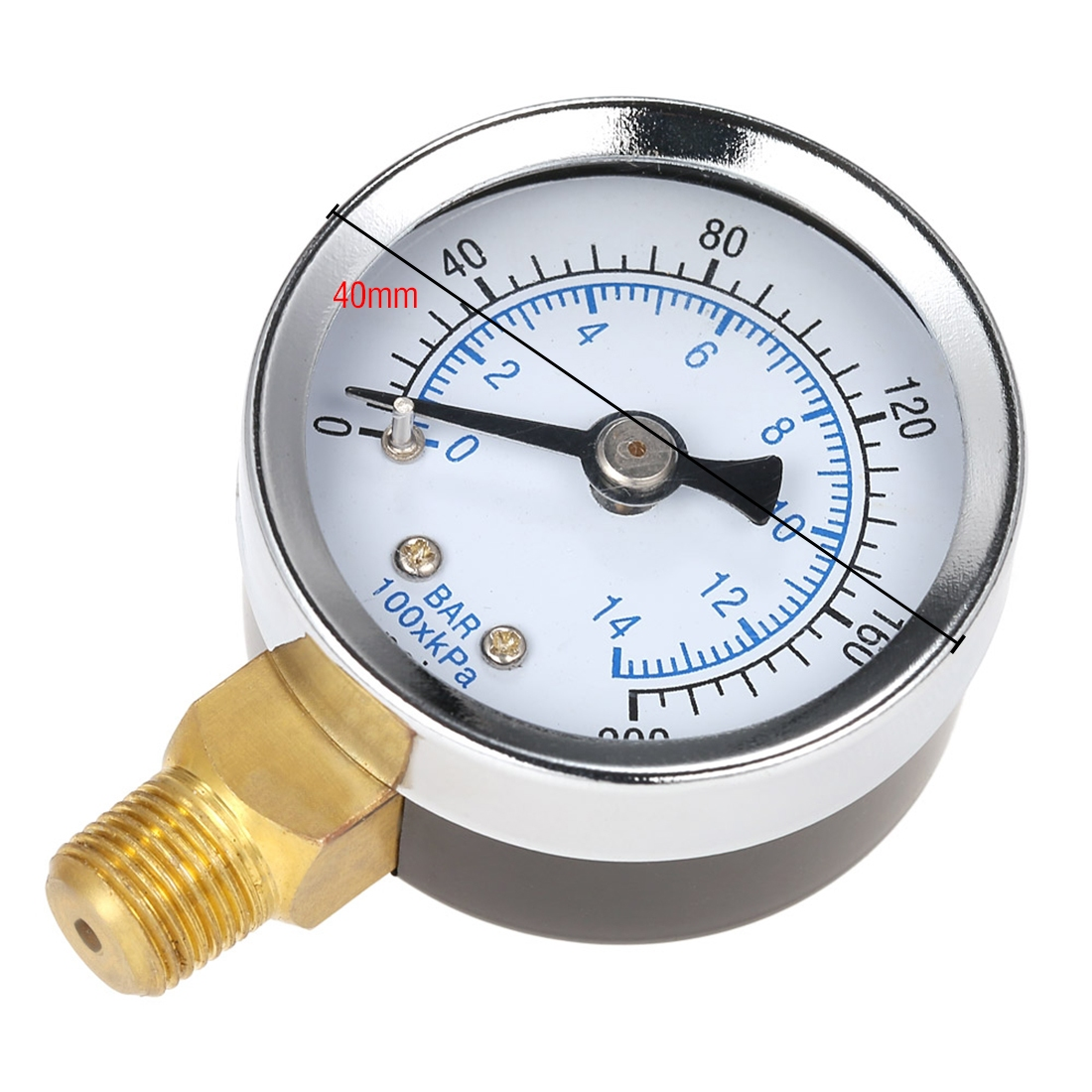 999BD22  Luchtdrukmeter  0 ~ 200 psi / 0 ~ 14 bar 1/8 NPT