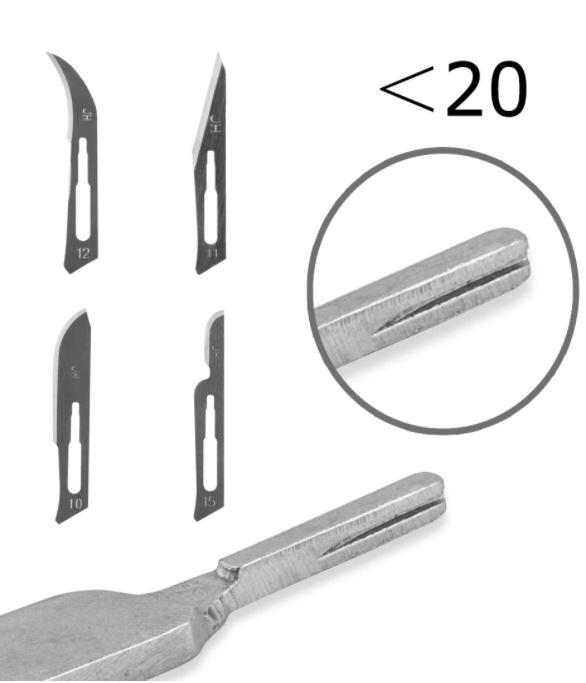 999BW15+ Handgreep Scalpel + 10 mesjes type 15#