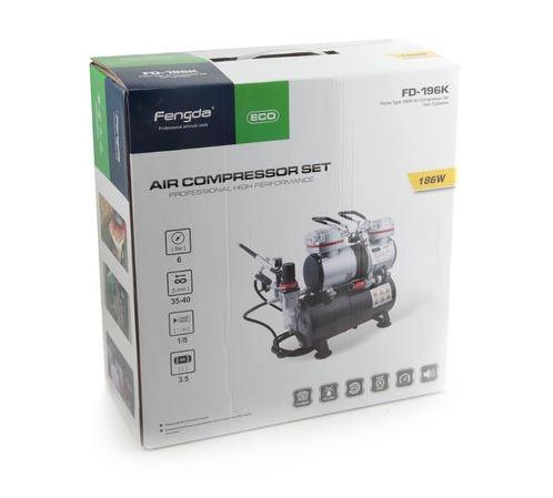 AS196K  Airbrush Set Compressor + Airbrish BD130 +Accesoires